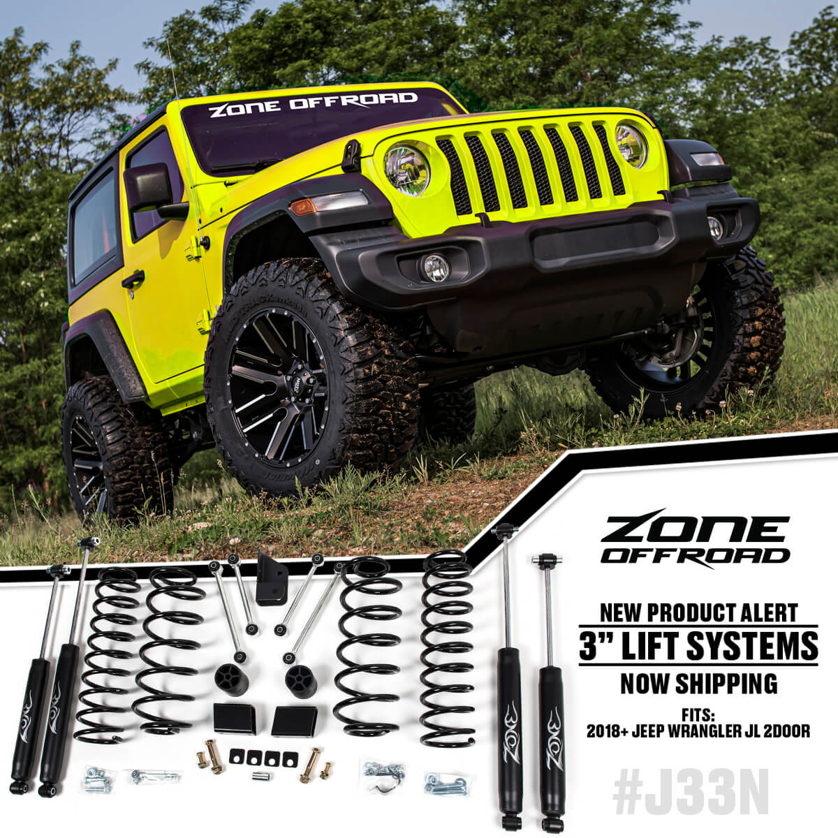 "3"" Suspension Systems for 2018-2020 Jeep Wrangler JL  2 Door from Zone Offroad"