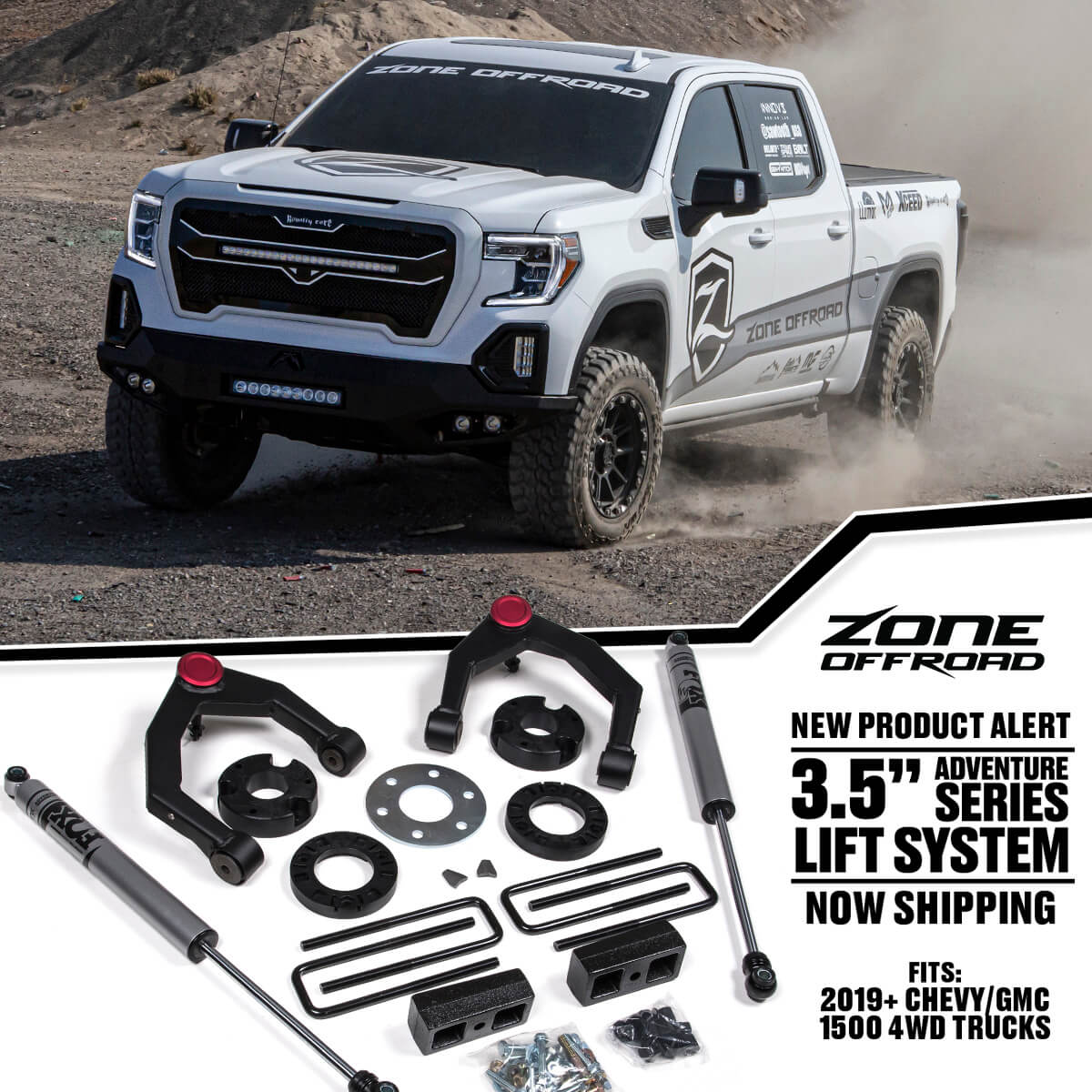 "3.5"" Adventure Series Lift System for 2019+ GM1500 Trucks from Zone Offroad"